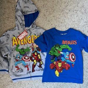 Marvel Avengers Boys Jacket and Shirt Set NWT